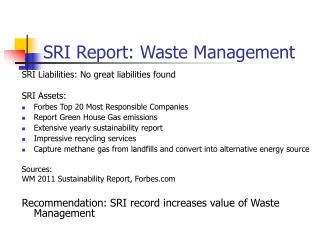 SRI Report: Waste Management