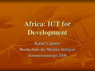 Africa: ICT for Development