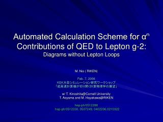 M. Nio ( RIKEN) Feb. 7, 2006  KEK 大型シミュレーション研究ワークショップ 「超高速計算機が切り開く計算物理学の展望」
