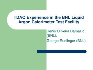 TDAQ Experience in the BNL Liquid Argon Calorimeter Test Facility