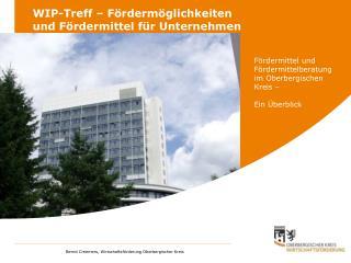 WIP-Treff – Fördermöglichkeiten und Fördermittel für Unternehmen