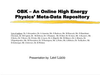 OBK – An Online High Energy Physics' Meta-Data Repository