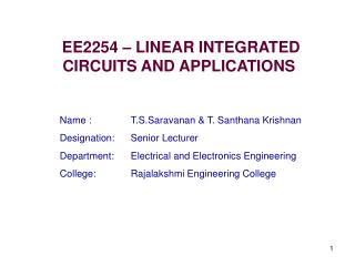 EE2254 – LINEAR INTEGRATED CIRCUITS AND APPLICATIONS