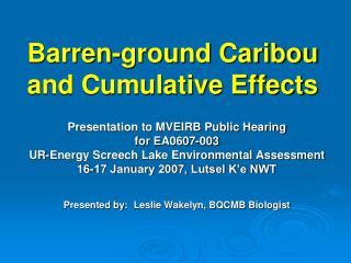 Barren-ground Caribou and Cumulative Effects