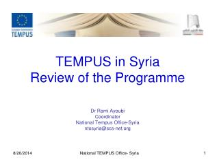 TEMPUS in Syria Review of the Programme