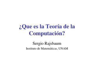Que es la Teor a de la Computaci n