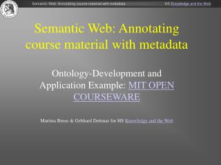 Semantic Web: Annotating course material with metadata