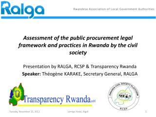 Assessment of the public procurement legal framework and practices in Rwanda by the civil society