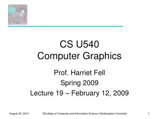 CS U540 Computer Graphics