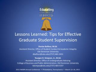 Lessons Learned: Tips for Effective Graduate Student Supervision