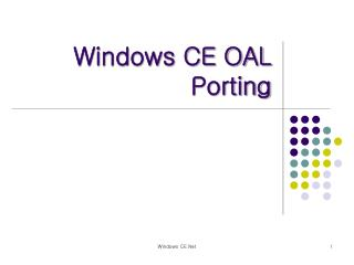 Windows CE OAL Porting