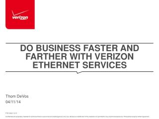 Do Business Faster and Farther With Verizon Ethernet Services