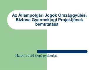 Az Állampolgári Jogok Országgyűlési Biztosa Gyermekjogi Projektjének bemutatása