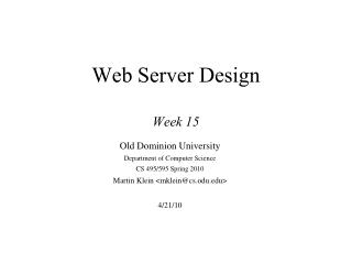 Web Server Design Week 15