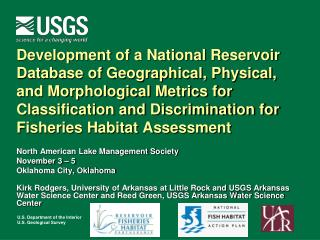 North American Lake Management Society November 3 � 5 Oklahoma City, Oklahoma