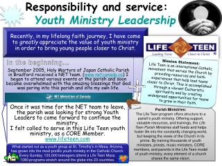 Responsibility and service: Youth Ministry Leadership