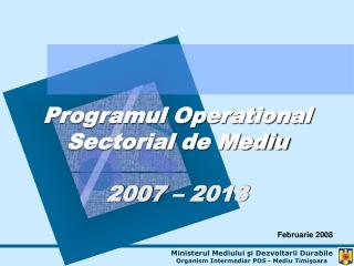 Programul Operational Sectorial de Mediu 2007 – 2013