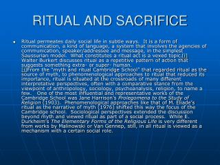 RITUAL AND SACRIFICE