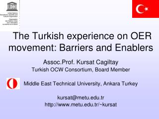 The Turkish experience on OER movement: Barriers and Enablers