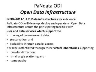 PaNdata ODI Open Data Infrastructure