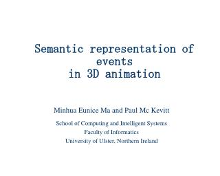 Semantic representation of events in 3D animation