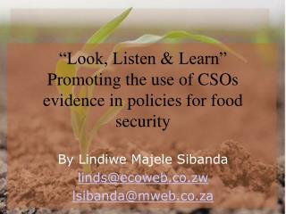 """Look, Listen & Learn"" Promoting the use of CSOs evidence in policies for food security"