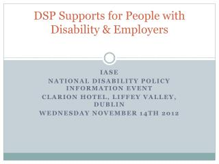 DSP Supports for People with Disability & Employers