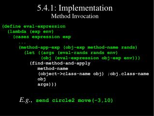 5.4.1: Implementation Method Invocation