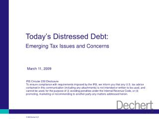 Today's Distressed Debt: Emerging Tax Issues and Concerns