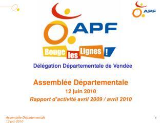 Assemblée Départementale 12 juin 2010 Rapport d'activité avril 2009 / avril 2010