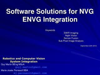 Software Solutions for NVG ENVG Integration