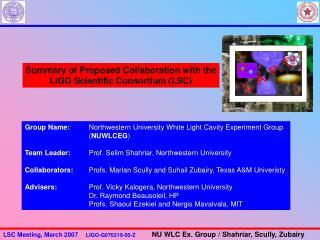 Summary of Proposed Collaboration with the LIGO Scientific Consortium (LSC)