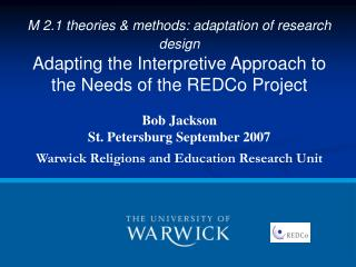 M 2.1 theories & methods: adaptation of research design