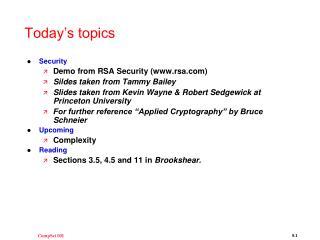 Today�s topics