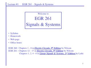 Lecture #1      EGR 261 – Signals & Systems