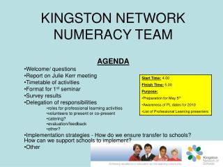 KINGSTON NETWORK NUMERACY TEAM