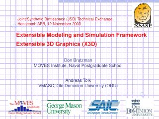 Extensible Modeling and Simulation Framework Extensible 3D Graphics (X3D)