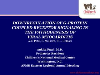DOWNREGULATION OF G-PROTEIN  COUPLED RECEPTOR SIGNALING IN  THE PATHOGENESIS OF  VIRAL MYOCARDITIS