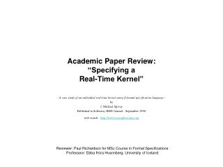"Academic Paper Review: ""Specifying a Real-Time Kernel"""