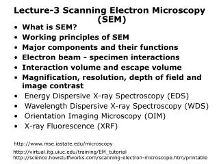 Lecture-3 Scanning Electron Microscopy