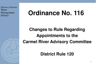 Ordinance No. 116