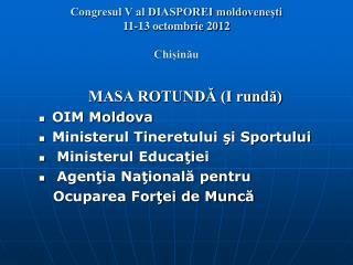 Congresul V al DIASPOREI moldovenești 11-13 octombrie 2012 Chișinău