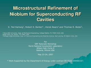 Microstructural Refinement of Niobium for Superconducting RF Cavities