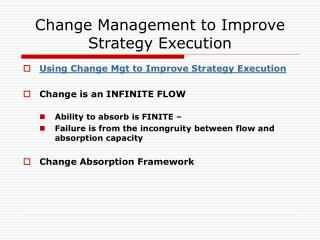 Change Management to Improve Strategy Execution