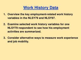 Work History Data