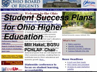 Student Success Plans for Ohio Higher Education