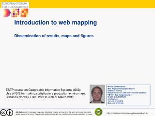 Introduction to web mapping  Dissemination of results, maps and figures