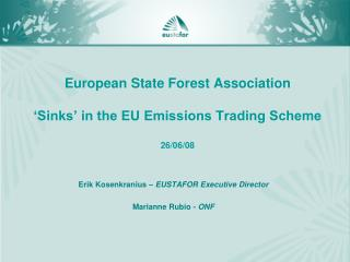 European State Forest Association  'Sinks' in the EU Emissions Trading Scheme 26/06/08