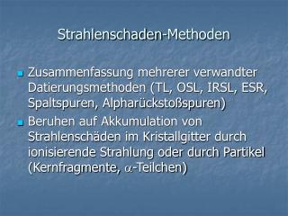 Strahlenschaden-Methoden