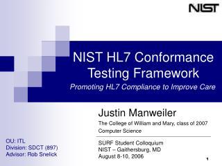 NIST HL7 Conformance Testing Framework